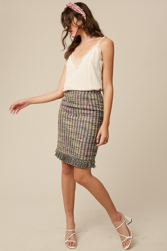 Fringe Tweed Skirt