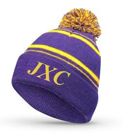 Embroidered Beanie Knit Hat, Purple and Yellow
