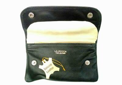 La Rocca Box Snap Fold-up Genuine Leather Tobacco Pouch