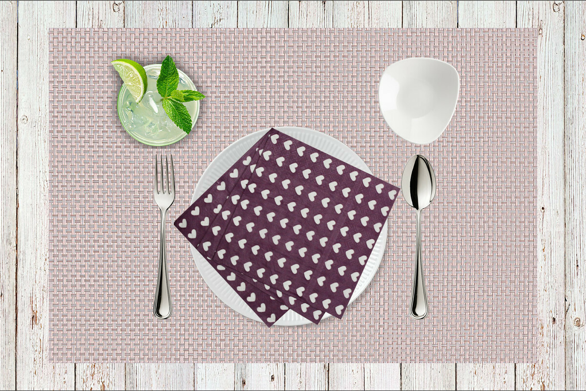 Hearts Purple Paper Napkin 13x13 - (Pack of 20)