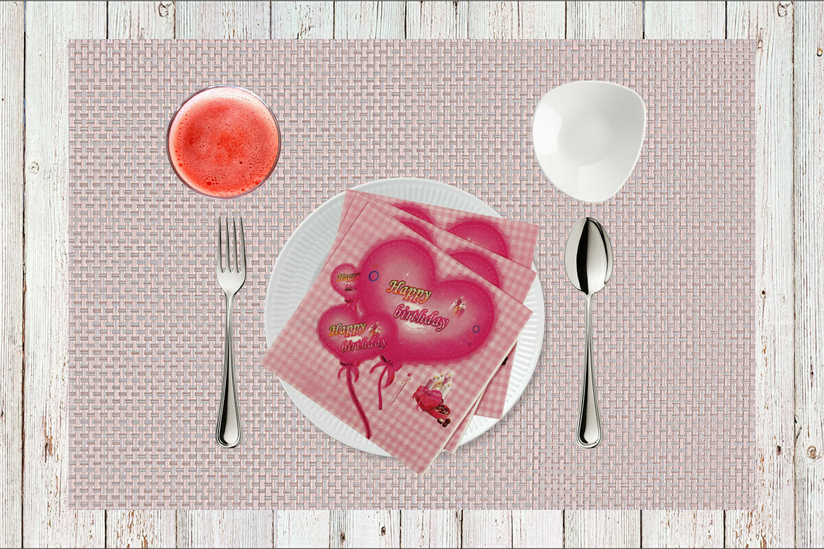 Happy Birthday Pink Paper Napkin 13x13 - (Pack of 20)