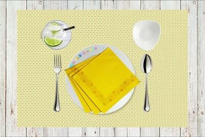 Yellow Flower Border Paper Napkin - (Pack of 20)