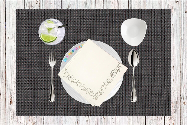 White Flower Border Paper Napkin - (Pack of 20)