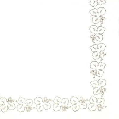 White Flower Border Paper Napkin - (Pack of 20)