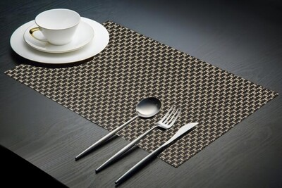 Dining Table Placemats - Black & Cream (45cm x  30cm) Set of 6