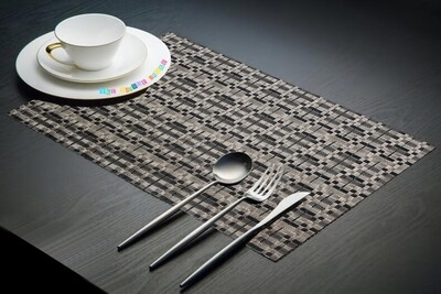 Dining Table Placemats - Silver and Black (45cm x 30cm) Set of 6