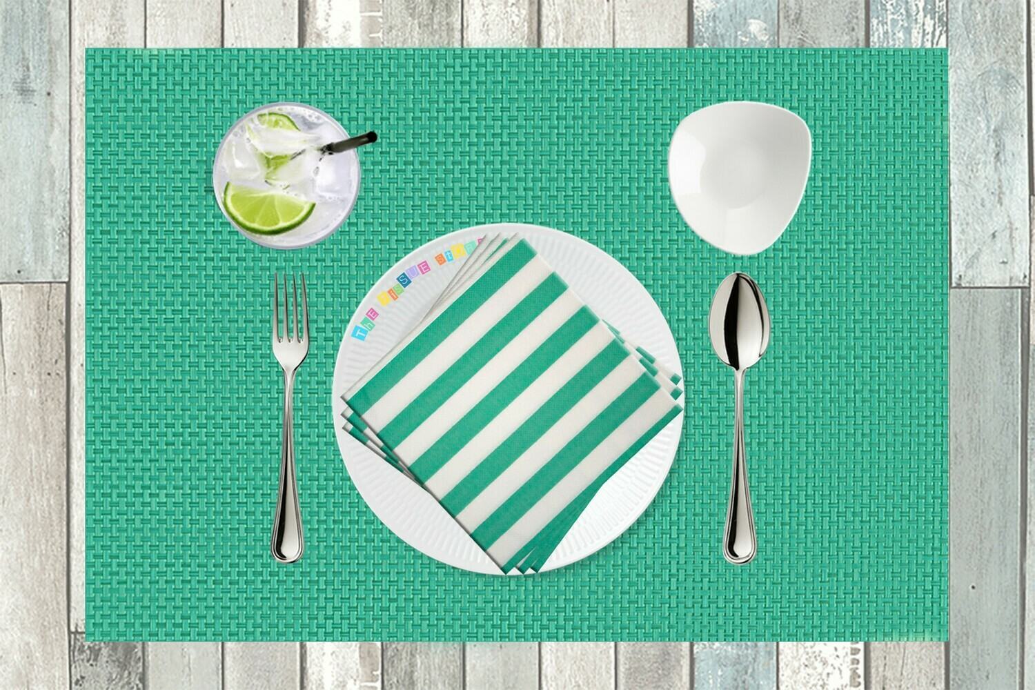 Stripes Seagreen Paper Napkin - (Pack of 20)
