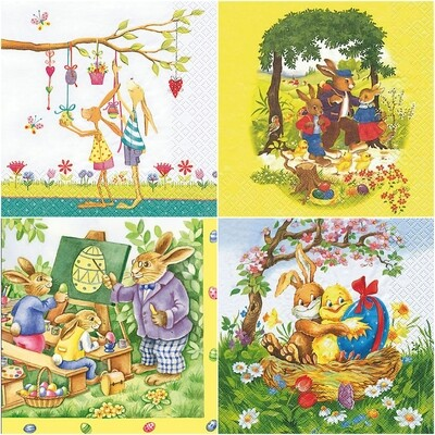 Decoupage Paper Napkins - Bunnies Print (4 Sheets)