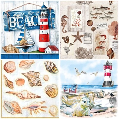 Decoupage Paper Napkins -Marine Theme (4 Sheets)
