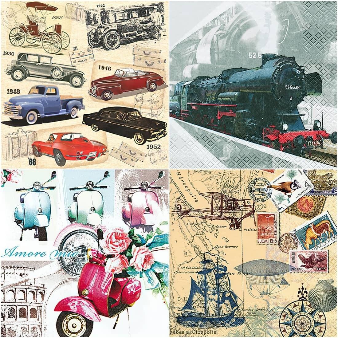 Decoupage Paper Napkins - Transport Print B (4 Sheets)