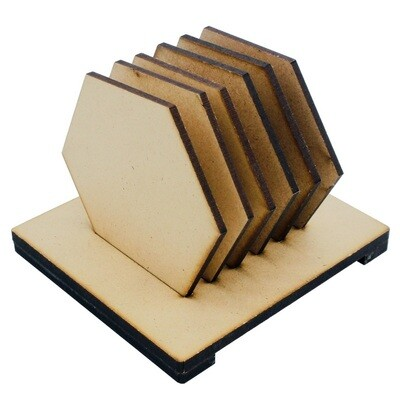 Coaster with Stand MDF Hexagon 6Pcs Set (for Craft/Activity/Decoupage/Painting/DIY)