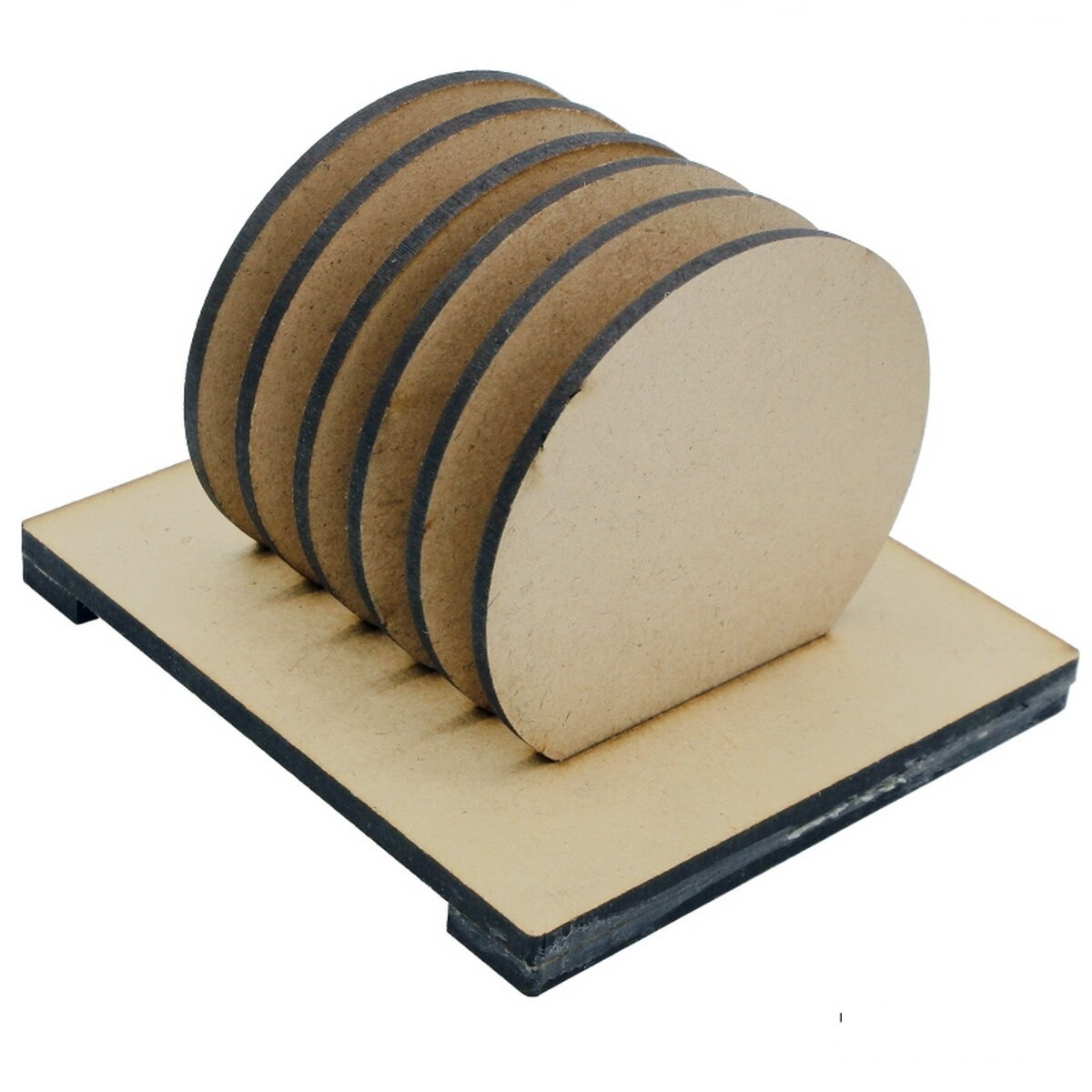 Coaster with Stand MDF Circle 6Pcs Set (for Craft/Activity/Decoupage/Painting/DIY)
