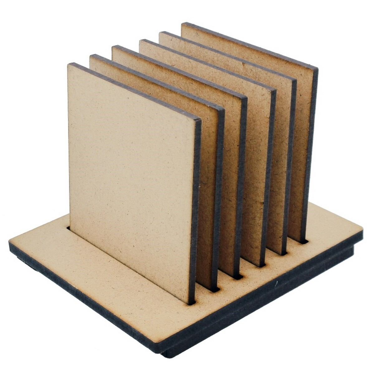 Coaster with Stand MDF Square 6Pcs Set (for Craft/Activity/Decoupage/Painting/DIY)