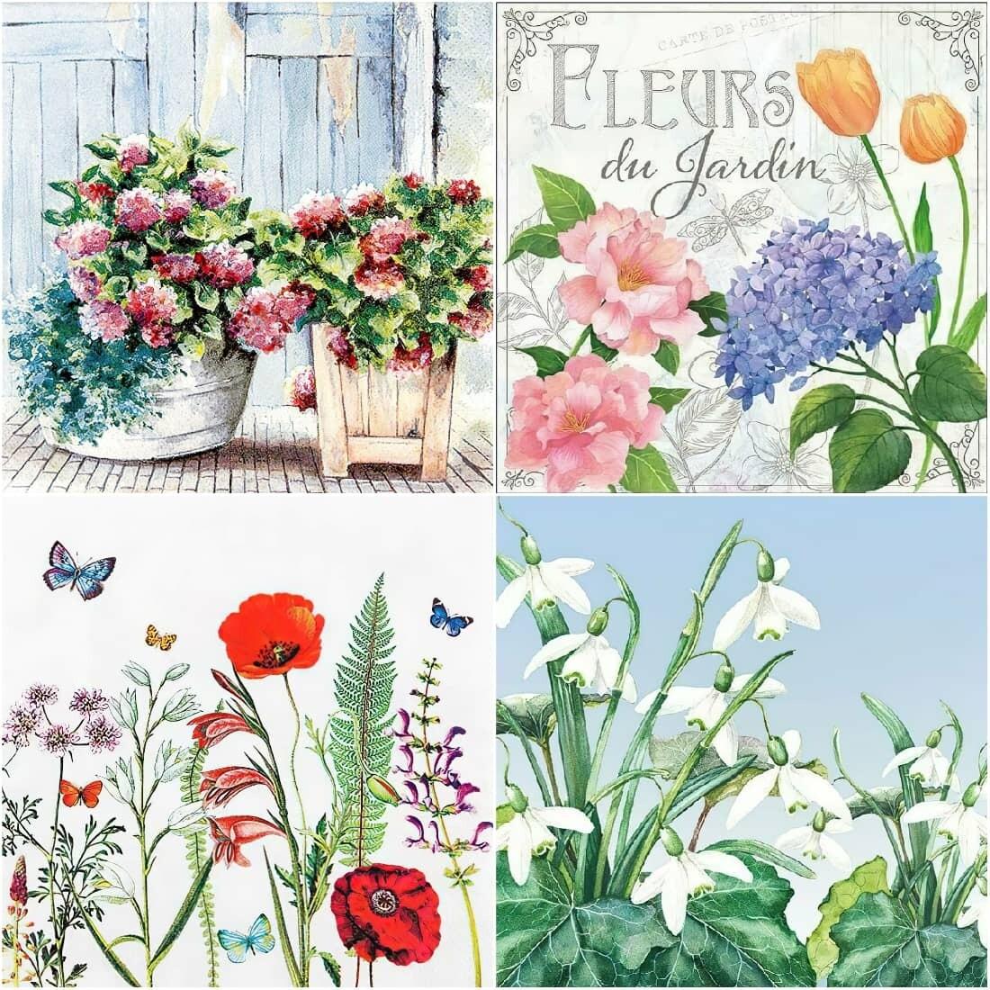 Decoupage Paper Napkins - Floral F (4 Sheets)