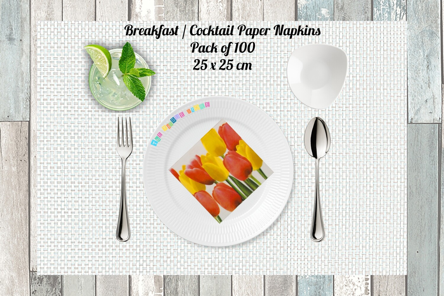 Breakfast / Cocktail Paper Napkin -Tulips Print 9x9- (Pack of 20)