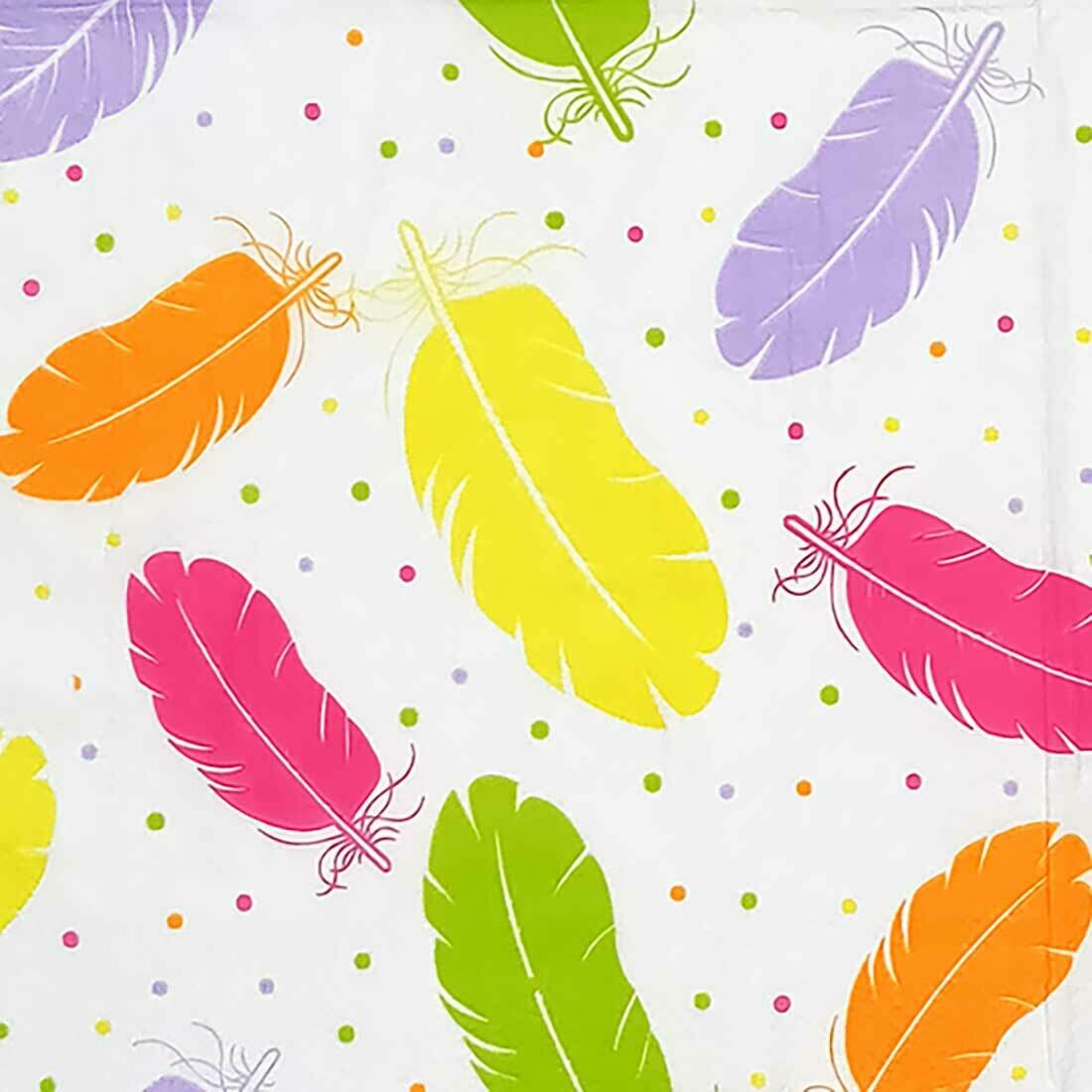 Feather Print Multicolour Paper Napkin 13x13 - (Pack of 20)