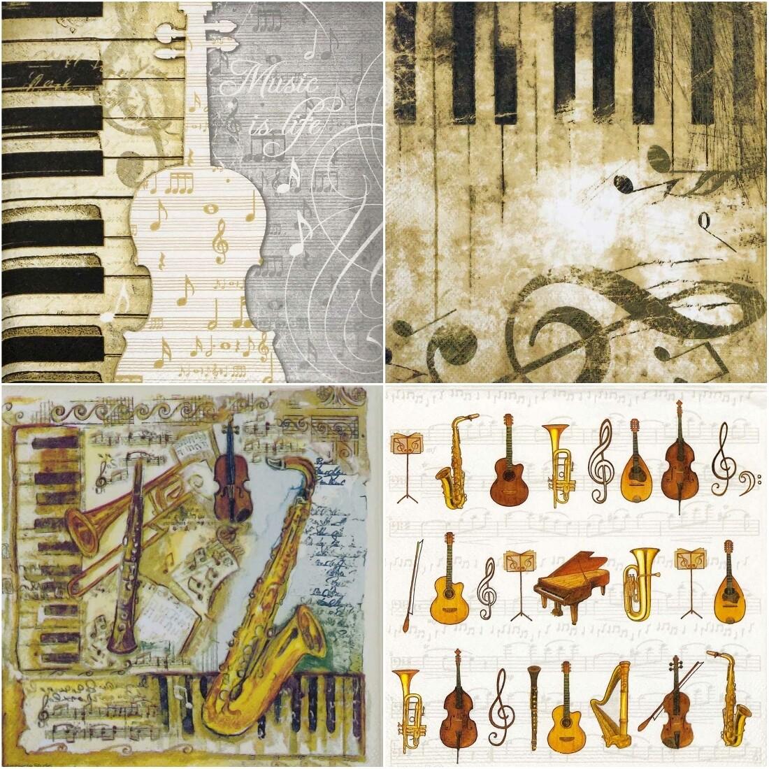 Decoupage Paper Napkins - Music Theme (4 Sheets)