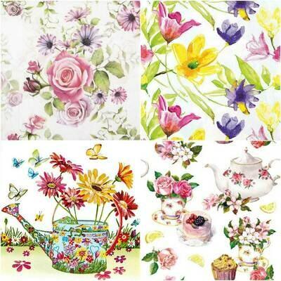 Decoupage Paper Napkins - Floral G 13x13 (4 Sheets)