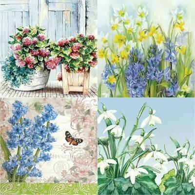 Decoupage Paper Napkins - Floral H 13x13 (4 Sheets)