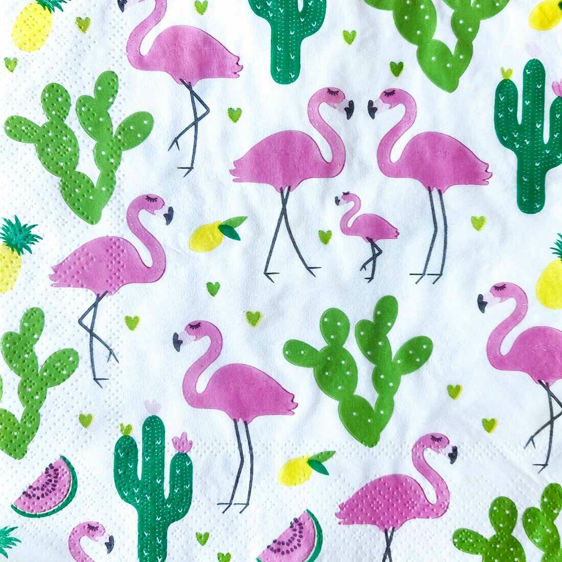 Flamingo Multicolour Paper Napkin 13x13 - (Pack of 20)