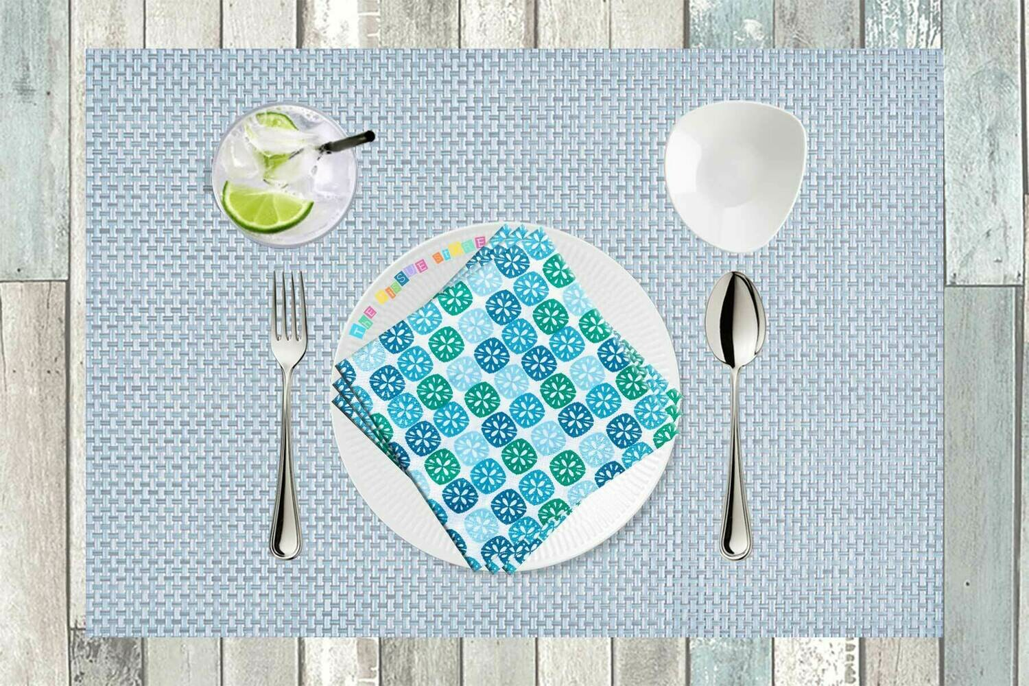Pattern Design Blue and Green Paper Napkin 13x13 - (Pack of 20)