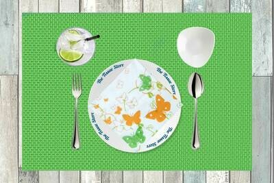 Butterflies White, Green & Orange Paper Napkin 13x13 - (Pack of 20)