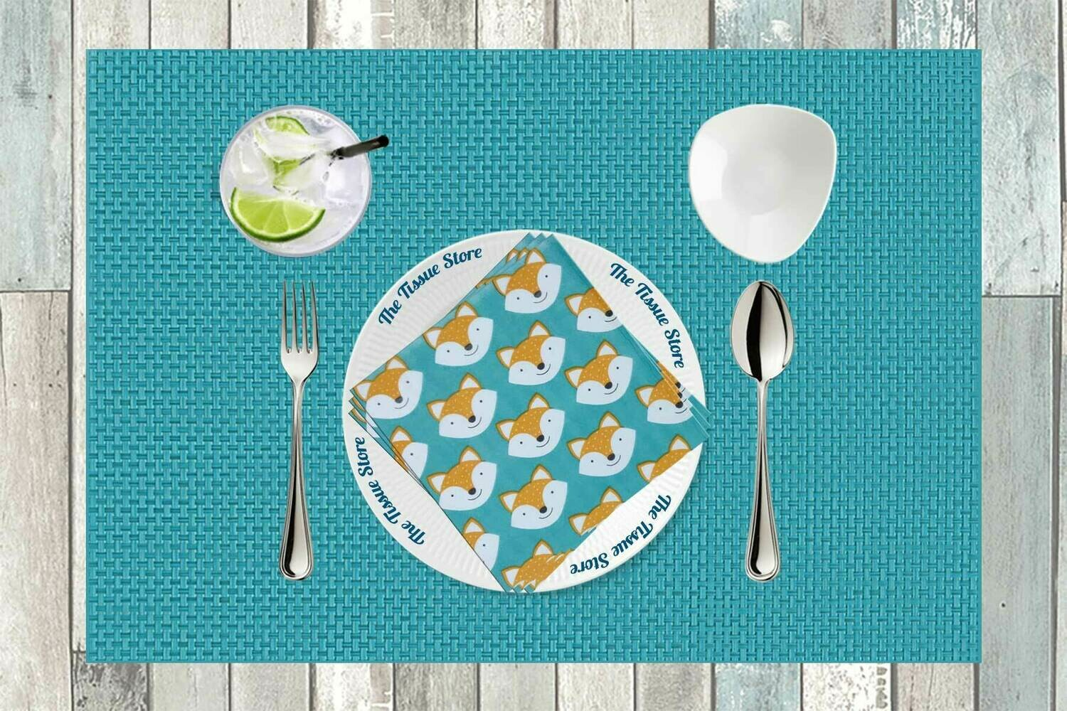 Fox Teal Paper Napkin 13x13 - (Pack of 20)