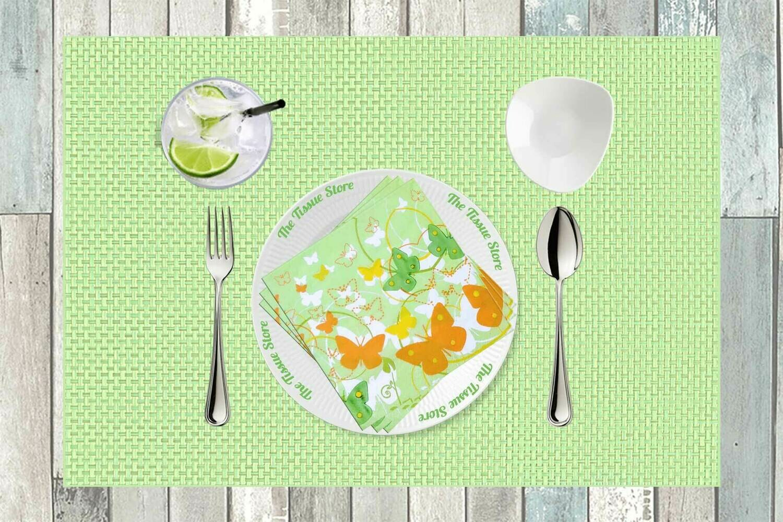 Butterflies Green & Orange Paper Napkin 13x13 - (Pack of 20)