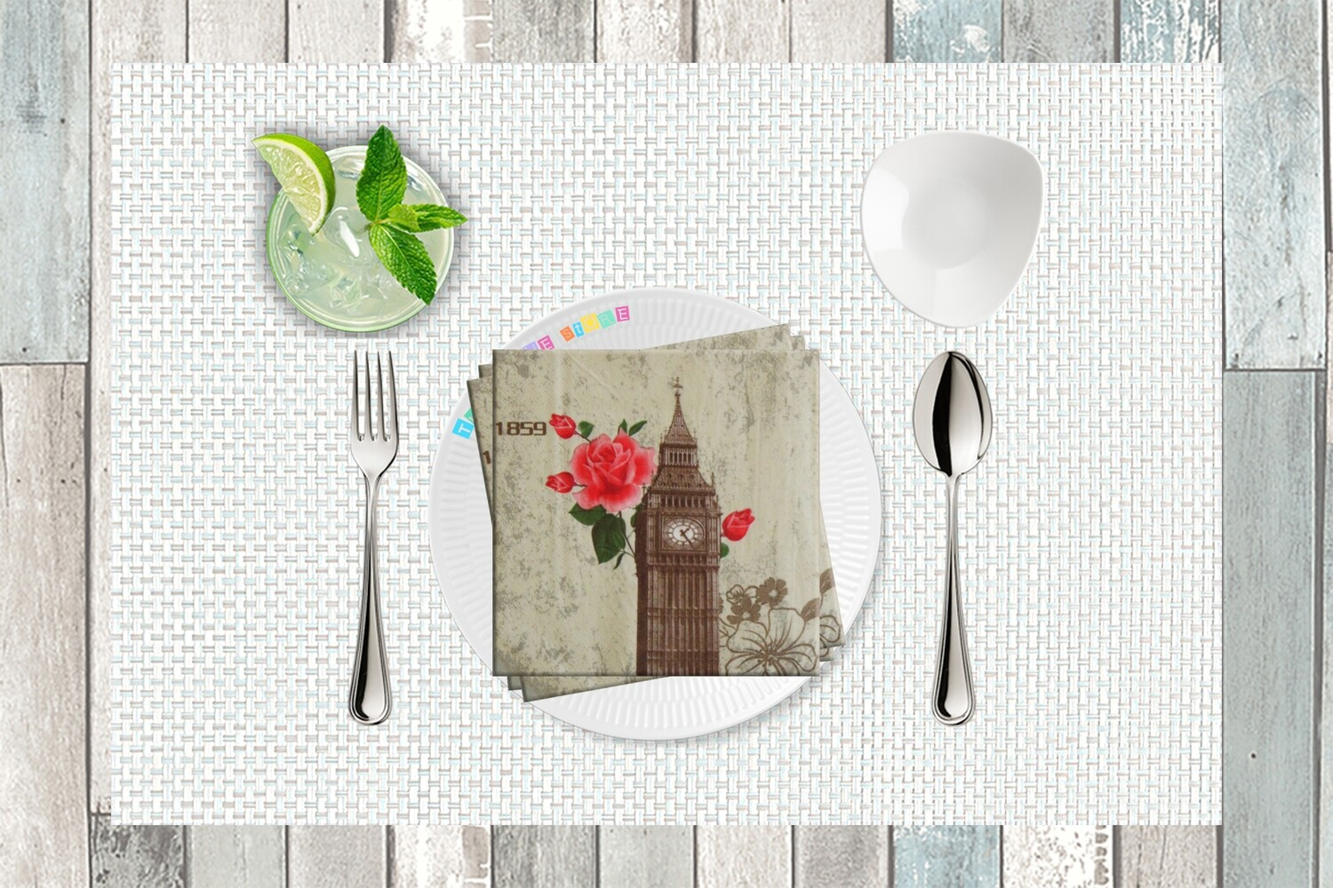 Big Ben Print Paper Napkin 13x13 - (Pack of 20)
