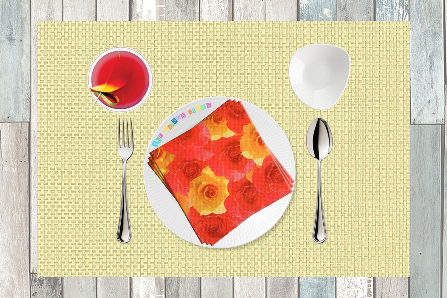 Floral Red & Yellow Paper Napkin 13x13 - (Pack of 20)