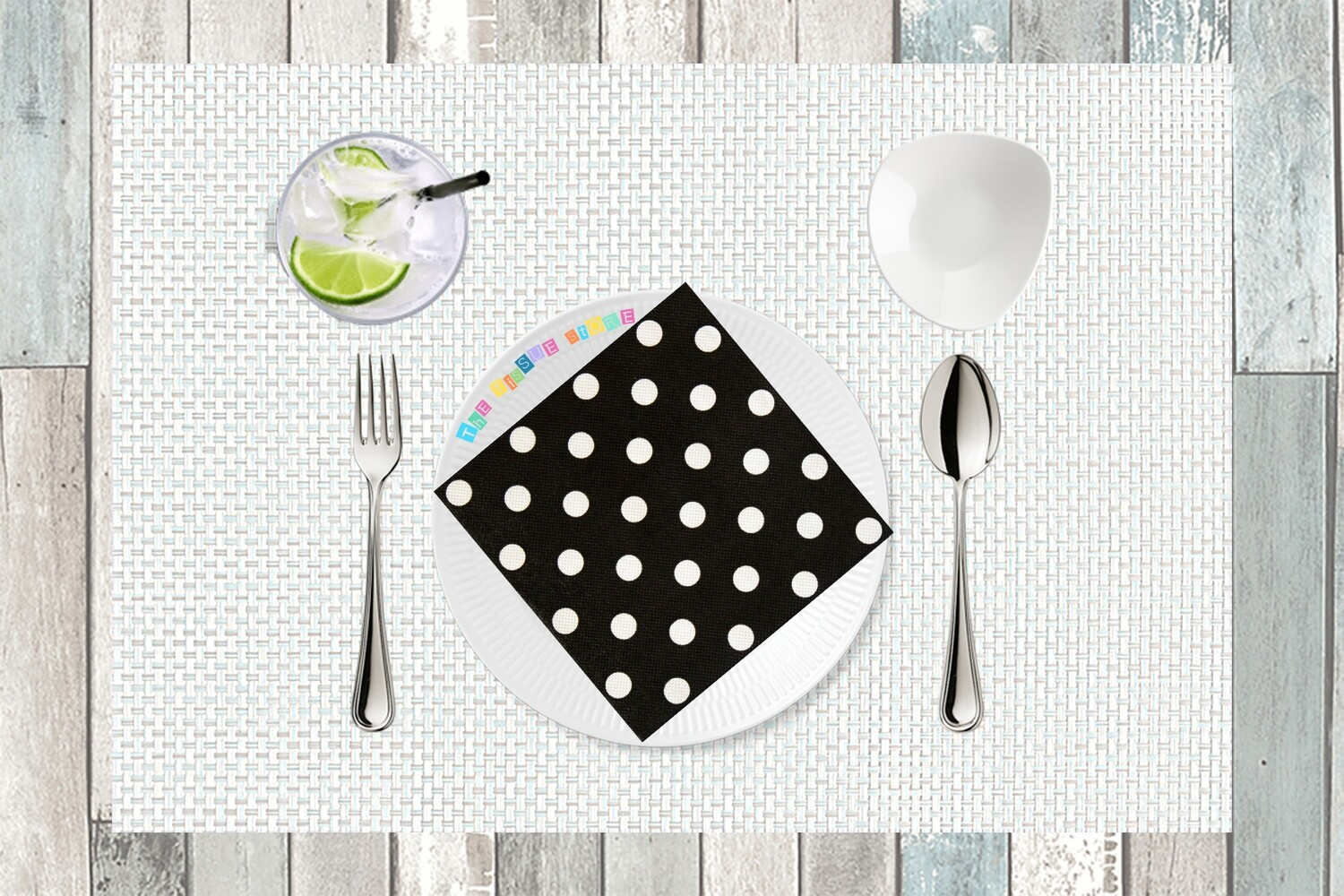 Polka Dot Paper Napkin Black 13x13 - (Pack of 20)