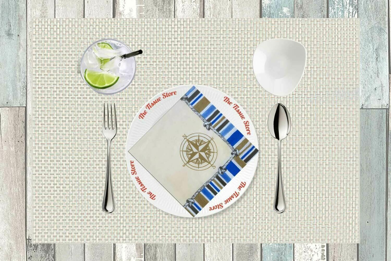 Compass Cream Print Paper Napkin 13x13 - (Pack of 20)