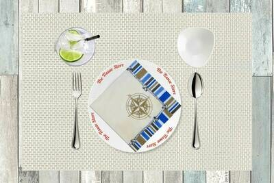 Compass Cream Print Paper Napkin 13x13 - (Pack of 20)