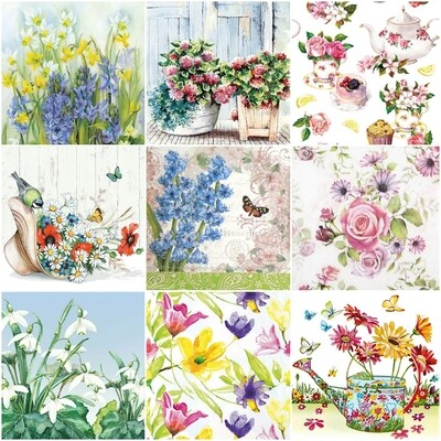 Decoupage Paper Napkins -  Floral B 13x13 (9 Sheets)