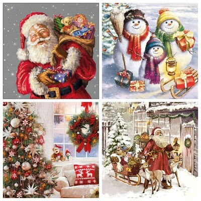 Decoupage Paper Napkins - Christmas 13x13 (4 Sheets)