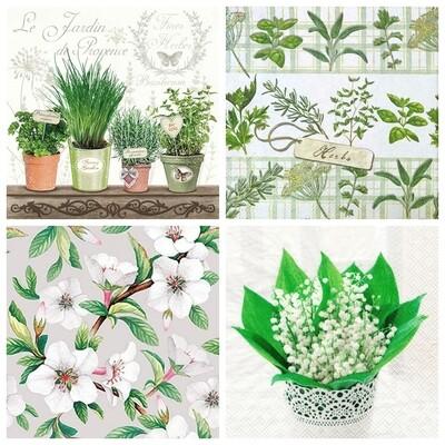 Decoupage Paper Napkins - Green Leaves B 13x13 (4 Sheets)