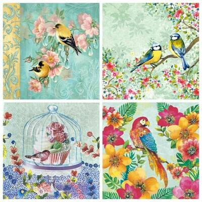 Decoupage Paper Napkins - Bird Print 7G (4 Sheets)