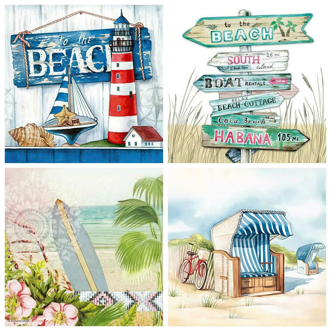 Decoupage Paper Napkins - Beach Theme 13x13 (4 Sheets)
