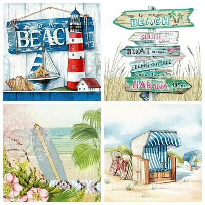 Decoupage Paper Napkins - Beach Theme 13x13 (4 Sheets)