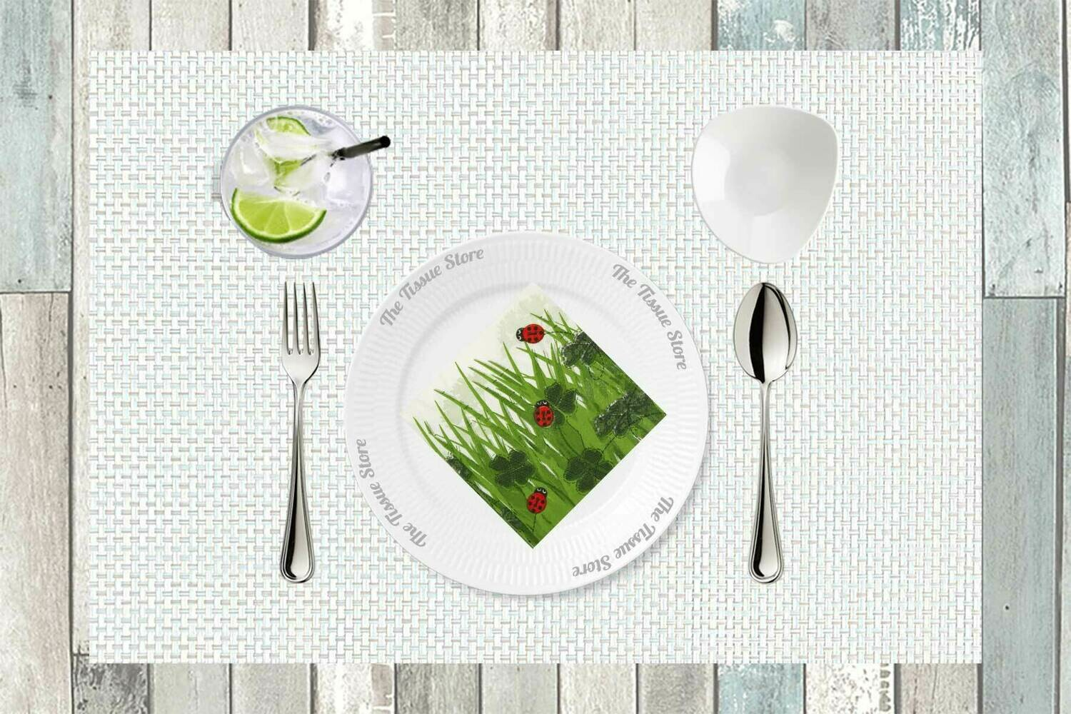 Breakfast / Cocktail Paper Napkin -Grass and Beetles Print - (Pack of 20)
