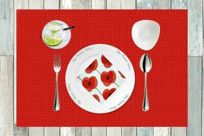 Breakfast / Cocktail Paper Napkin -Red Flower Print - (Pack of 20)