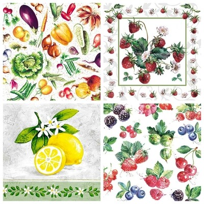 Decoupage Paper Napkins - Fruits and Vegetables-1 13x13 (4 Sheets)