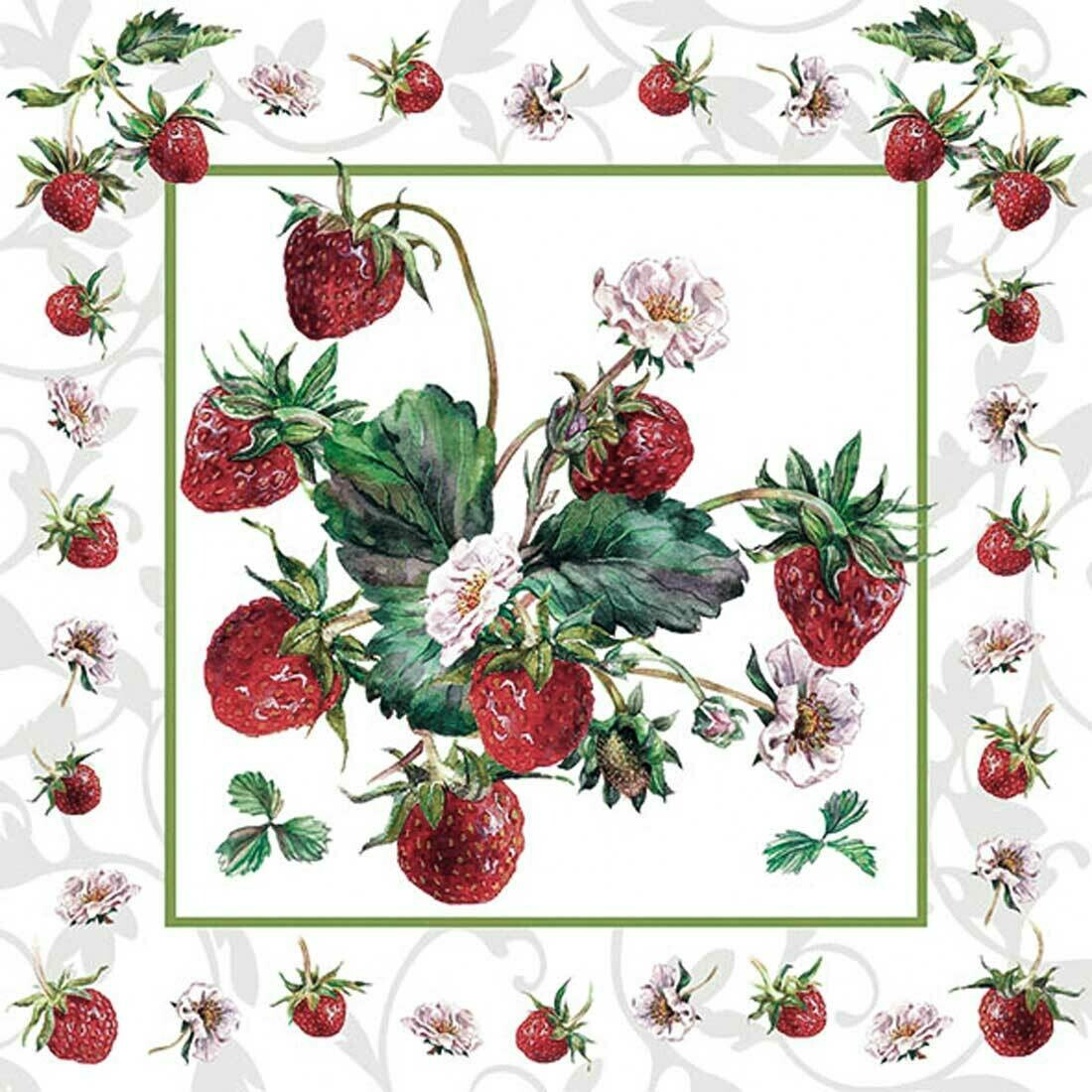 Decoupage Paper Napkins - Fresh Strawberries 13x13 (1 Sheet)