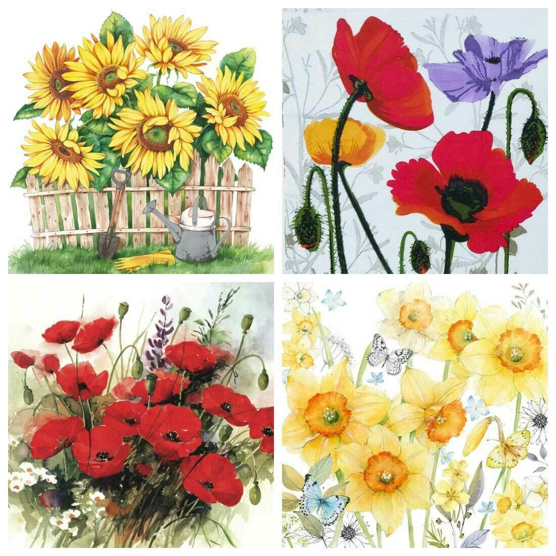 Decoupage Paper Napkins - Floral J10 (4 Sheets)