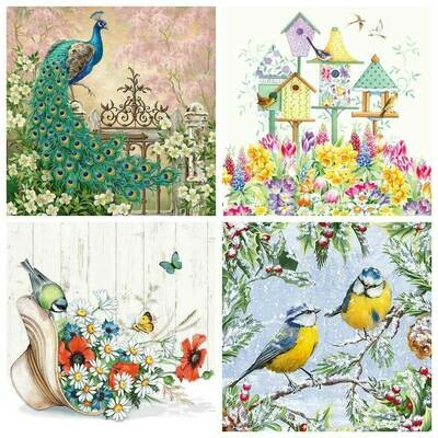Decoupage Paper Napkins - Bird Print 9 (4 Sheets)