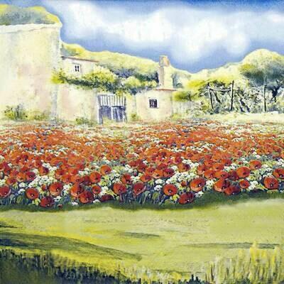 Decoupage Paper Napkins - Poppy Garden 13x13 (1 Sheet)
