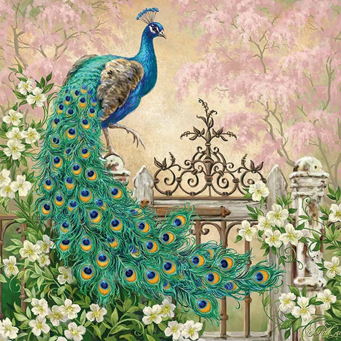 Decoupage Paper Napkins - Bird - Noble Peacock (1 Sheet)