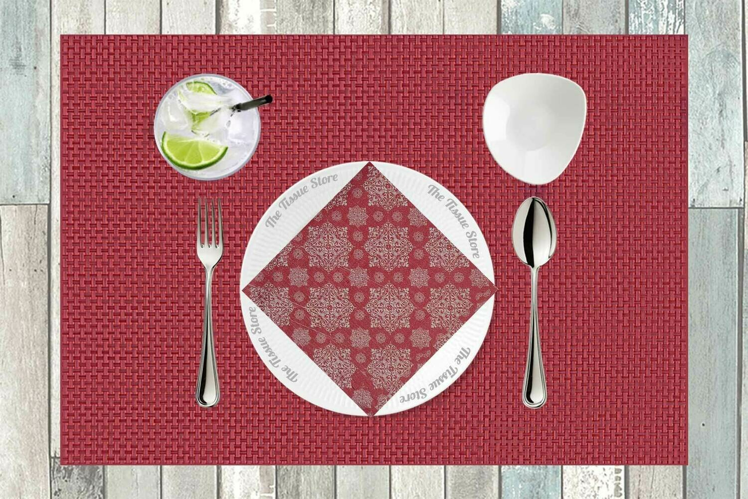 Red & White Paper Napkin 16x16 - (Pack of 20)