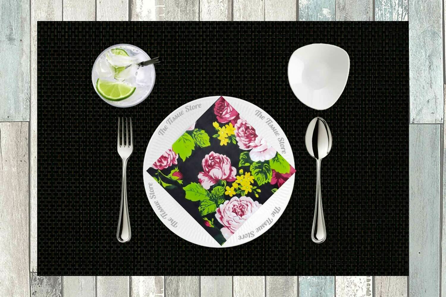 Floral Multicolour Paper Napkin 13x13 - (Pack of 20)