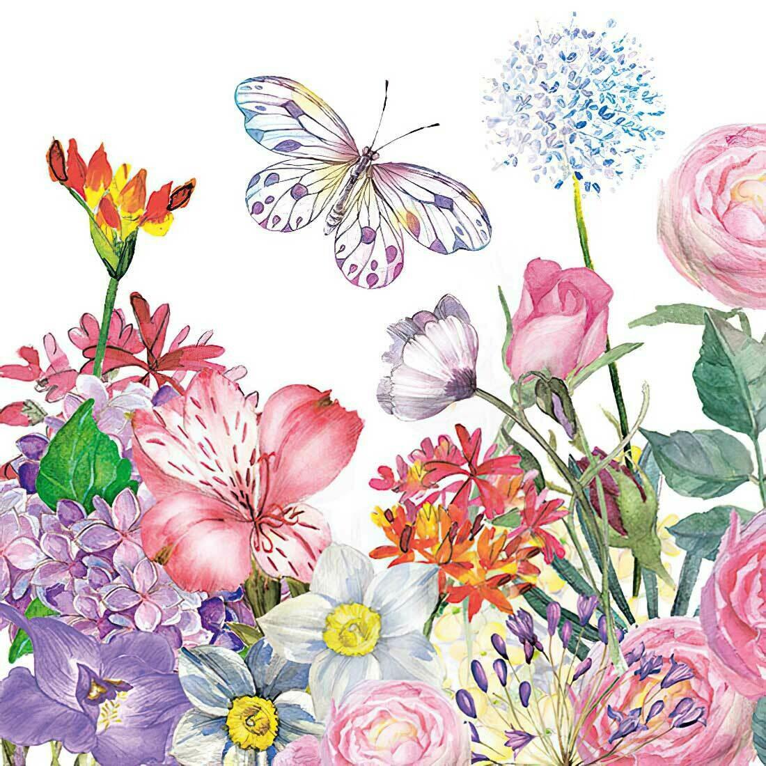 Decoupage Paper Napkins - Butterflies - Flower Garden